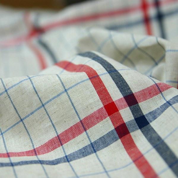 Linen Big check red + navy [7868b]