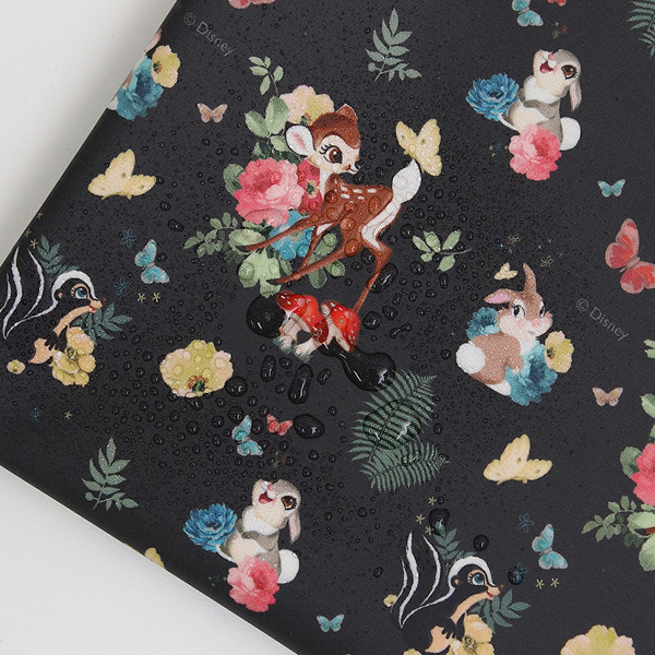 """Laminated Cotton-Disney-Bambi Forest Friends Charcoal(44"""")"""