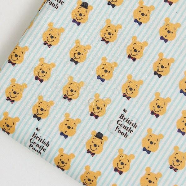 "Laminated Cotton-Disney-Pooh Stripe Mint(44"")"