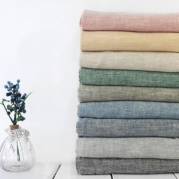 Linen Washing 9 herringbone [Pink, Mustard, Natural, Green, Khaki, Blue, Ink, Gray, Black]