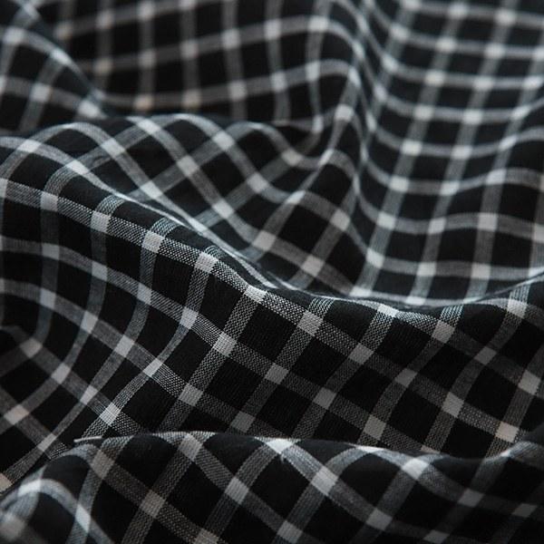 Check white cotton black check1cm