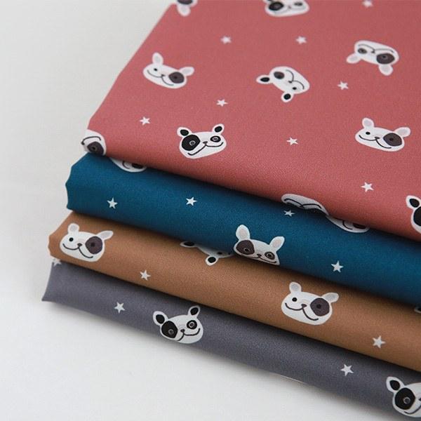 "Cotton sheeting-French Bulldog, 4colors(44"")"