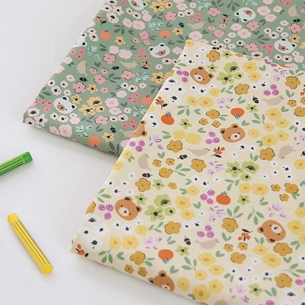 "Cotton sheeting-Honey bear, 2colors(44"")"