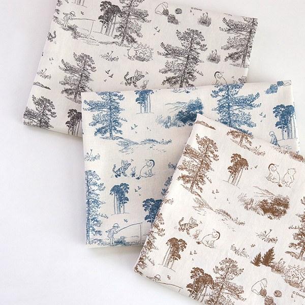 """Linen Cotton-Disney-Pooh Forest Toile, 3colors(52"""")"""