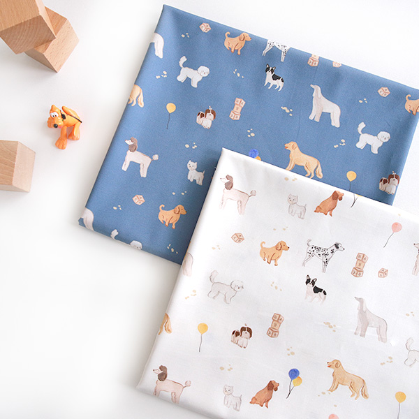 Cotton sheeting-Puppy Friends, 2colors